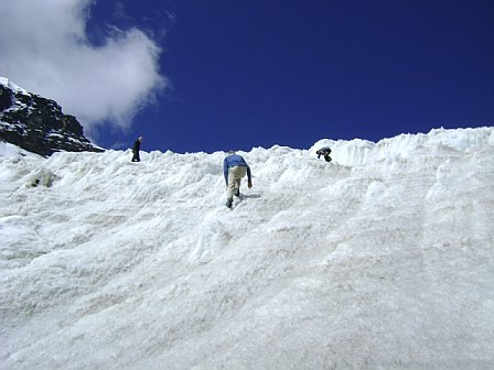 Climbing the Chica Colla glacier with Dan, Doug, Martin and Emmett