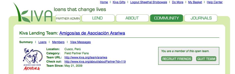 Kiva Lending Team Amigos de Asociación Arariwa